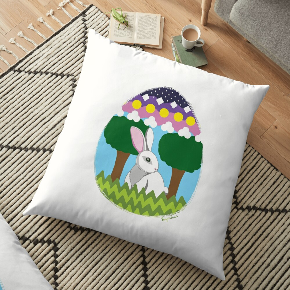 Easter Bunny in Egg Floor Pillow