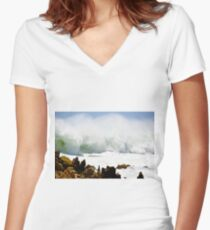 Powerful Ocean Women's Fitted V-Neck T-Shirt
