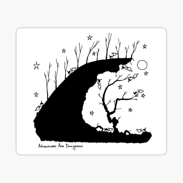 Cows in Forest Cliff at the Jagged Abyss under Moon and Stars Sticker