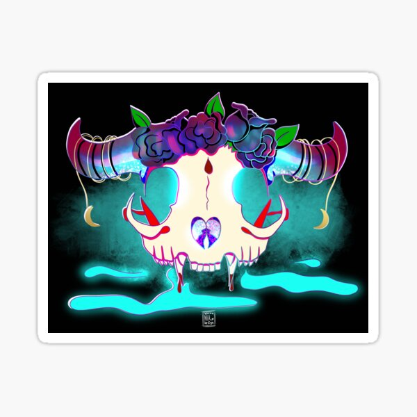 Rose Crown Cat Skull Sticker