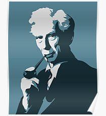 Bertrand Russell (blau) Poster