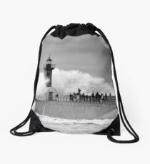 Lighthouse in a storm Drawstring Bag