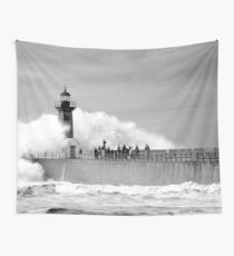 Lighthouse in a storm Wall Tapestry