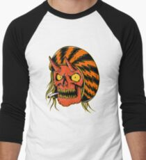 Biker Skull smoking - designed by Joe Tamponi Men's Baseball ¾ T-Shirt