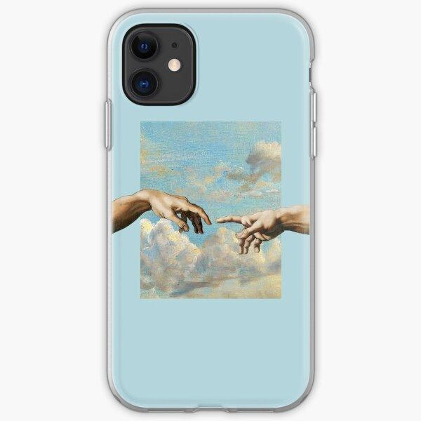 hands michelangelo art aesthetic phone case blue painting iPhone Soft Case