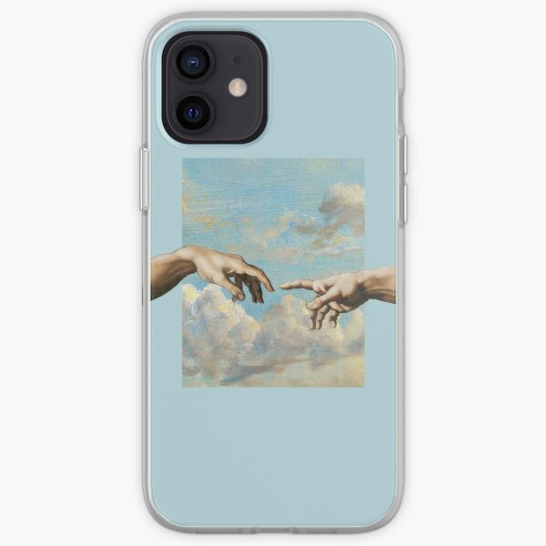 hands michelangelo art aesthetic phone case blue painting iPhone Soft Case