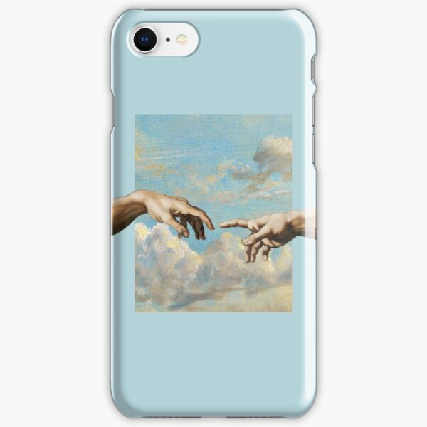 hands michelangelo art aesthetic phone case blue painting iPhone Snap Case