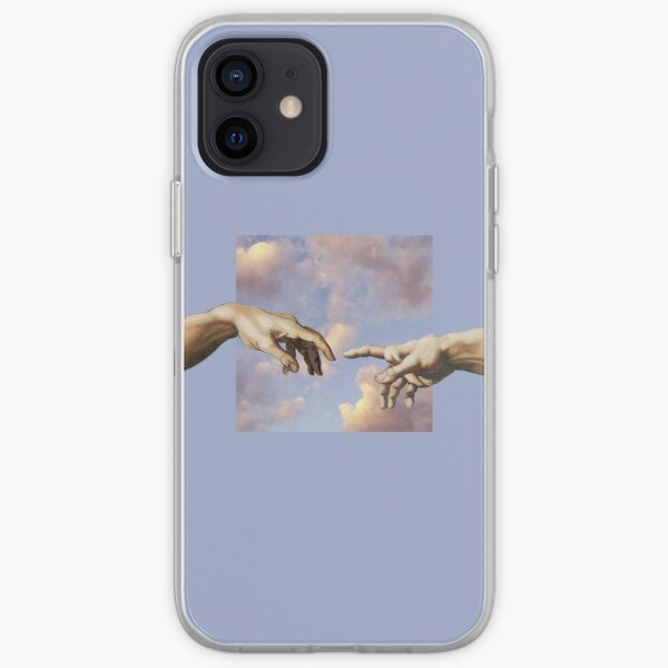 hands michelangelo art aesthetic phone case purple painting iPhone Soft Case