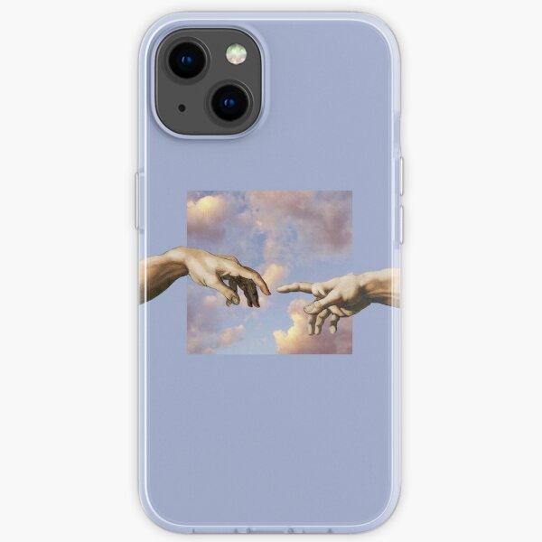 hands michelangelo art aesthetic phone case purple painting iPhone Soft Case