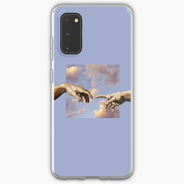 hands michelangelo art aesthetic phone case purple painting Samsung Galaxy Soft Case