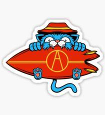 Surfer Cat - designed by Joe Tamponi Sticker