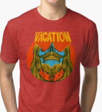 Psychedelic vacation skull - designed by Joe Tamponi Tri-blend T-Shirt
