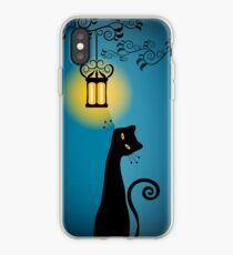 Black Cat and Old Lantern Illustration iPhone Case
