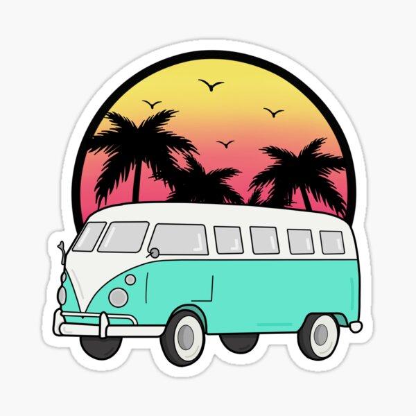 Sunset camping illustration Sticker