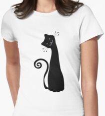 Black Cheerful Cat Vector Art Women's Fitted T-Shirt