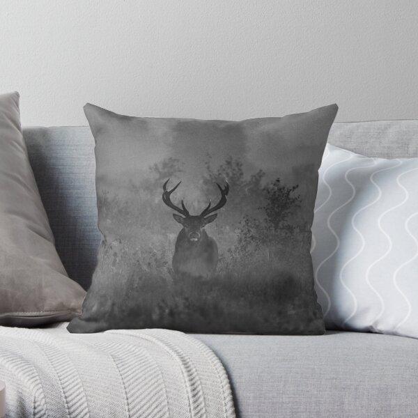 A Deer In The Mist Throw Pillow