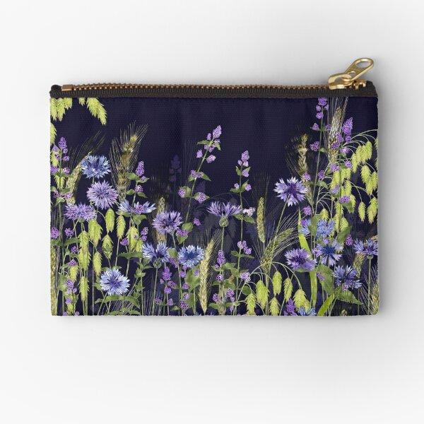 Blue Flower Meadow - Cornflowers, Catmint, Wheat Ears Zipper Pouch