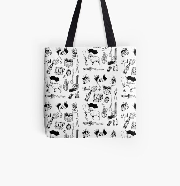Anarchy black traditional inspired flash sheet All Over Print Tote Bag