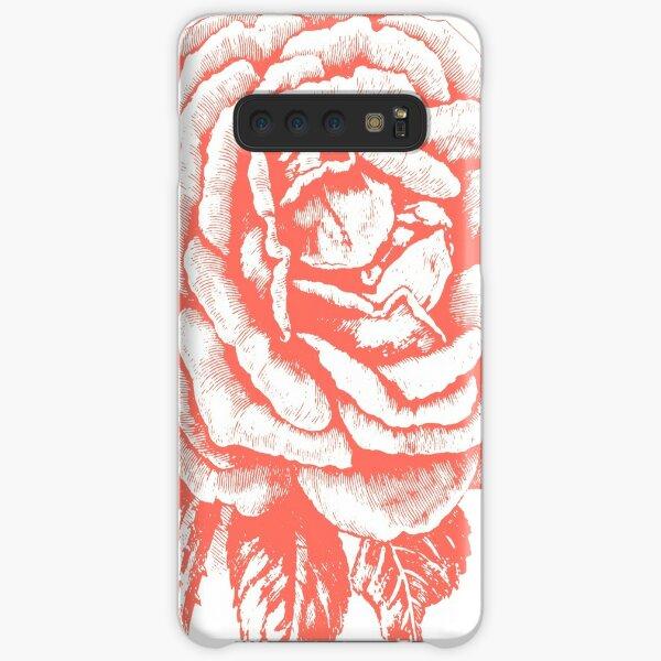 """Rose gezeichnet im Vintage-Stil in Farbe """"Living Coral"""" Samsung Galaxy Leichte Hülle"""