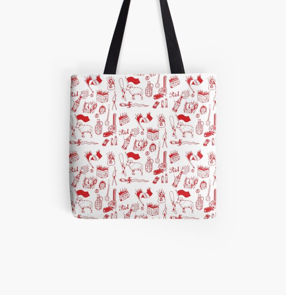 Anarchy black traditional tattoo flash set  All Over Print Tote Bag