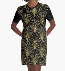 Black and gold art-deco geometric pattern Graphic T-Shirt Dress