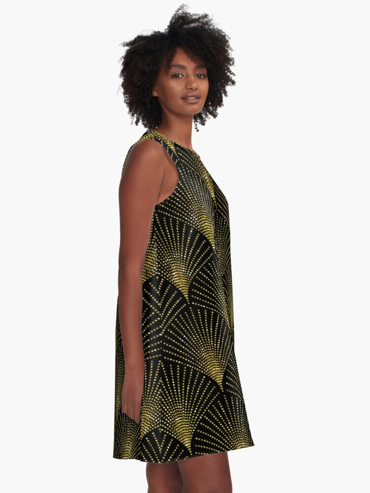 Alternate view of Black and gold art-deco geometric pattern A-Line Dress