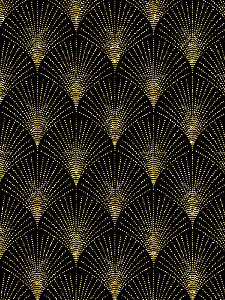 Black and gold art-deco geometric pattern by artonwear