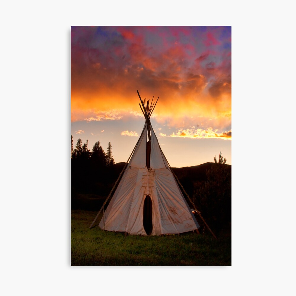 Indian Teepee Sunset Vertical Image Canvas Print