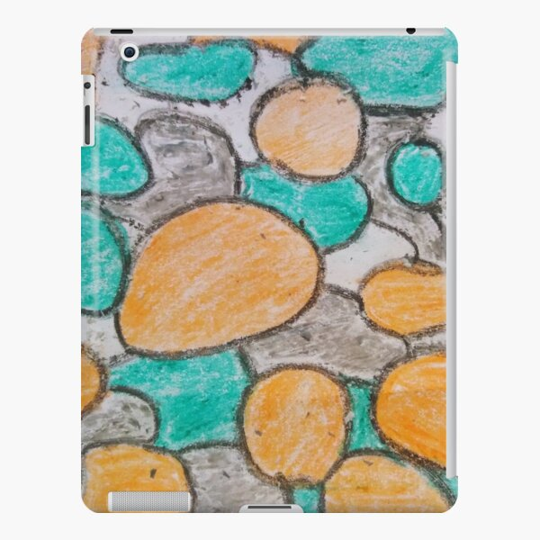 Wax hand painted abstract design. Orange and Green, and Gray iPad Snap Case
