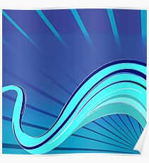 Blue waves vector Poster