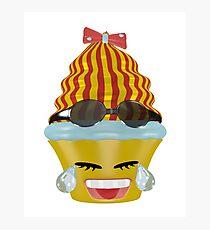 Tränen lachendes Emoticon Cupcake Fotodruck