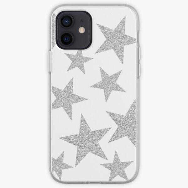 silver glitter stars iPhone Soft Case