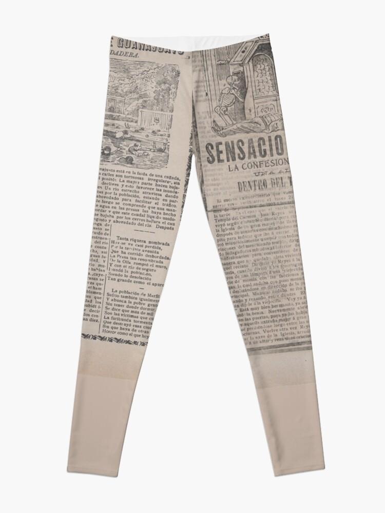 Alternate view of Old News Newspaper pattern Leggings