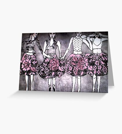 Dancing Girls - Edition 1 Drypoint Etching Greeting Card