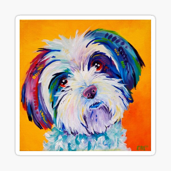 Ted - A dog in colour Sticker