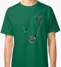 Safety Pin Skulls Design Green Classic T-Shirt
