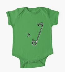 Safety Pin Skulls Design Green One Piece - Short Sleeve