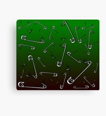 Safety Pin Skulls Design Green Canvas Print