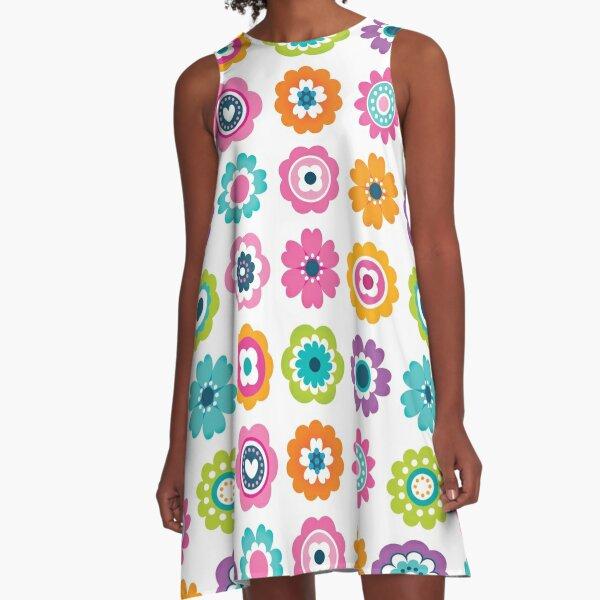 Mod Flowers - Spring Colors A-Line Dress