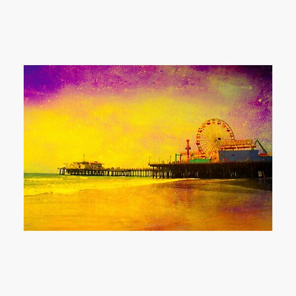 Yellow Purple Santa Monica Pier Photographic Print