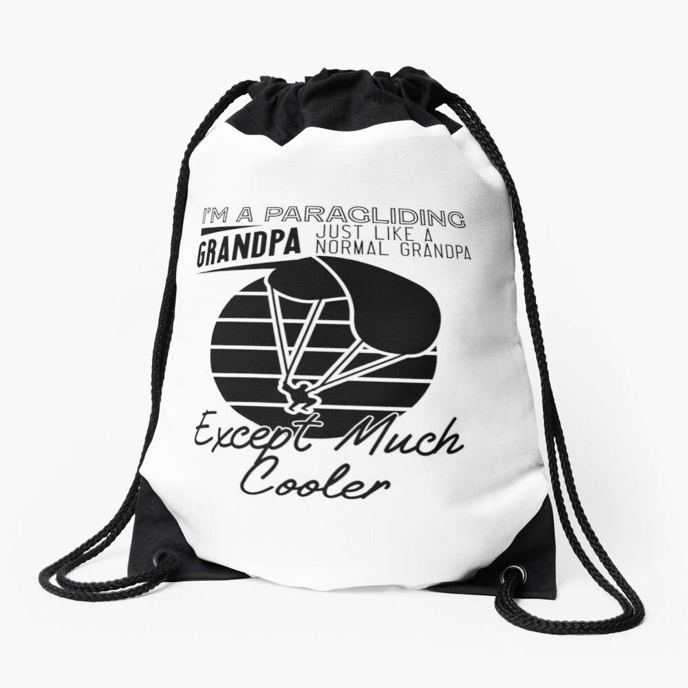 Cool Paragliding Grandpa Drawstring Bag