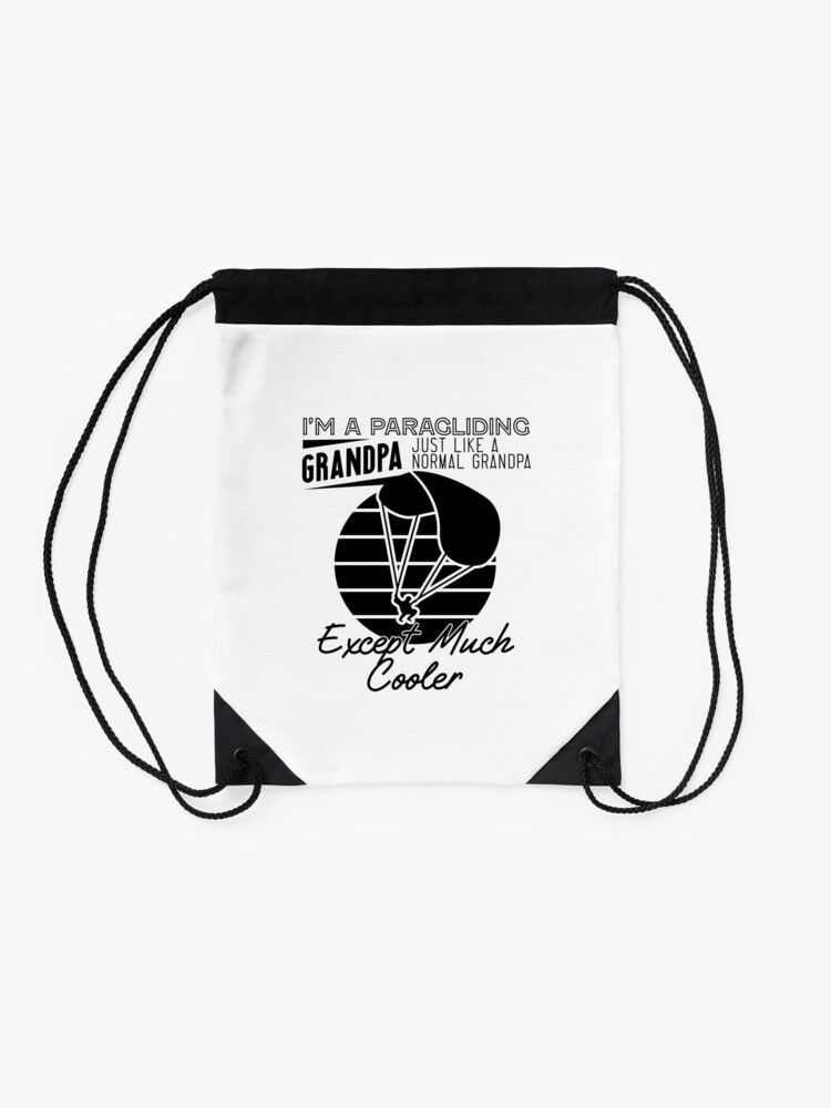 Alternate view of Cool Paragliding Grandpa Drawstring Bag