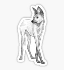 Maned Wolf Art Design - Pencil Sketch Sticker