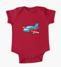 Funny blue airplane cartoon One Piece - Short Sleeve