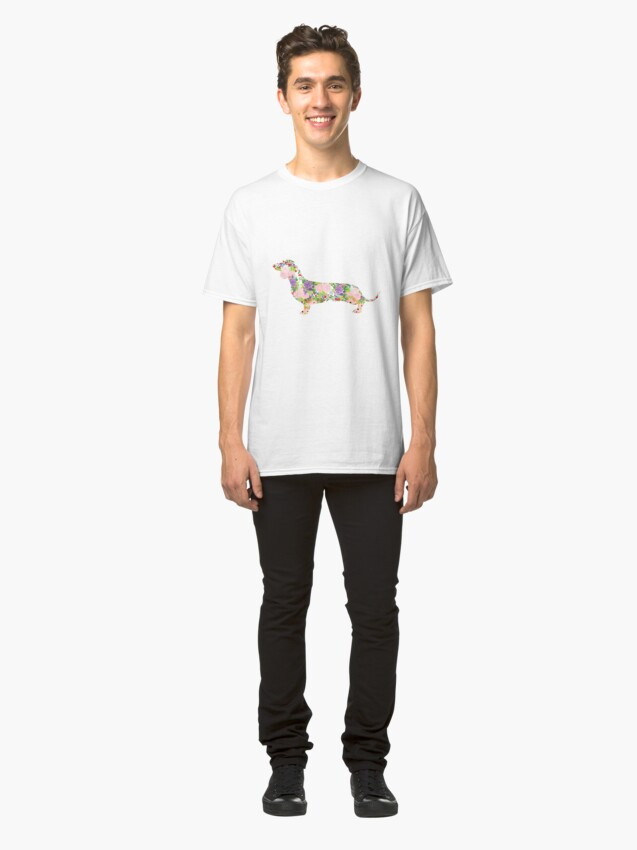 Alternate view of Floral Dachshund Classic T-Shirt