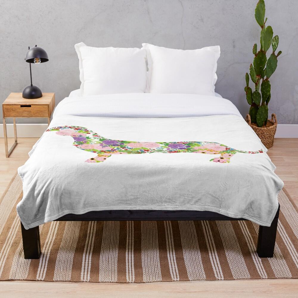 Floral Dachshund Throw Blanket