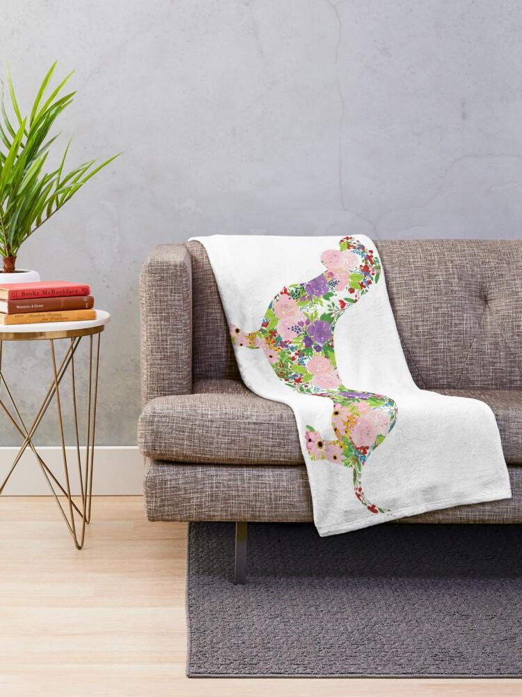 Alternate view of Floral Dachshund Throw Blanket