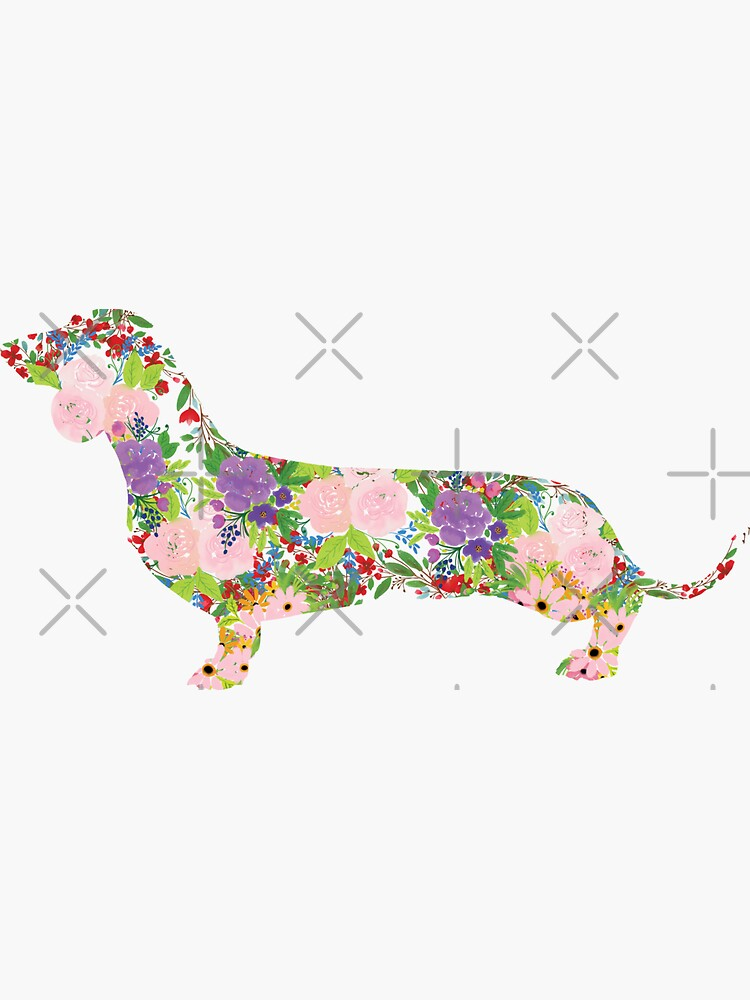 Floral Dachshund by tribbledesign