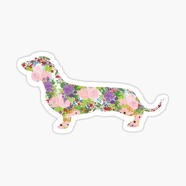 Floral Dachshund Sticker