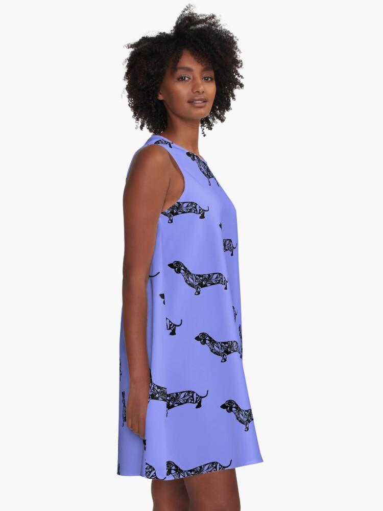 Alternate view of Dachshund Floral Mandala A-Line Dress